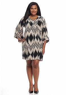 Robbie Bee Plus Size Printed Bell-Sleeve Shift Dress