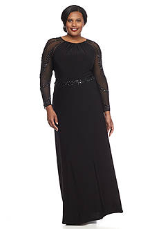 Marina Plus Size Bead Embellished Jersey Gown