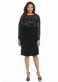 Marina Plus Size Cocktail Dress with Sequin