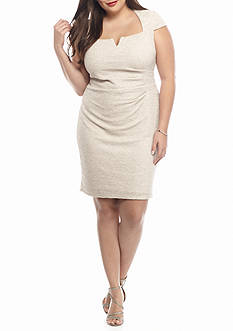 Marina Plus Size Allover Glitter Sheath Dress
