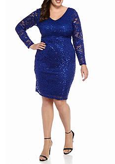 Marina Plus Size Lace and Sequin Sheath Dress