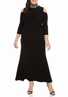 Marina Plus Size Cold Shoulder Gown