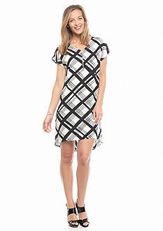 Danillo Boutique Plaid Zip Front High Low Hem Dress