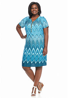 Danillo Boutique Plus Size Printed Zip Front Shift Dress