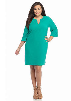 Danillo Boutique Plus Size Split Neckline Shift Dress
