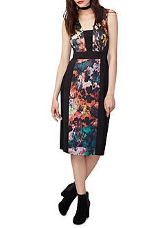 RACHEL Rachel Roy Mixed Media Printed Sheath Dress