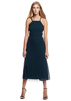 RACHEL Rachel Roy Chain Chiffon Pleated Midi Dress