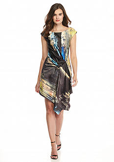 RACHEL Rachel Roy Printed Side Drape Dress