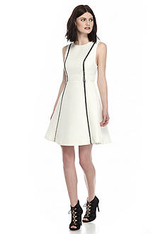 RACHEL Rachel Roy Jacquard Fit-and-Flare Dress with Faux Leather Trim