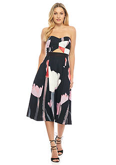RACHEL Rachel Roy Strapless Floral Printed Fit and Flare Dress