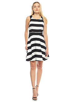 RACHEL Rachel Roy Stripe Fit and Flare Dress