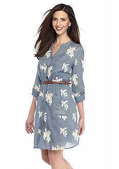 Beige by ECI Embroidered Chambray Belted Shirt Dress