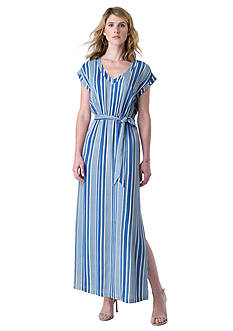 Beige by ECI Striped Maxi Dress With Waist Tie