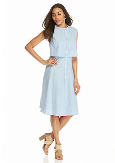 Beige by ECI Chambray Stripe Shirt Dress with Cutout Back