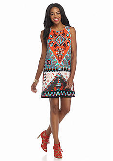 Beige by ECI Printed Trapeze Dress
