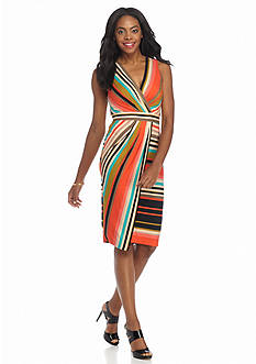 Beige by ECI Stripe Faux Wrap Dress