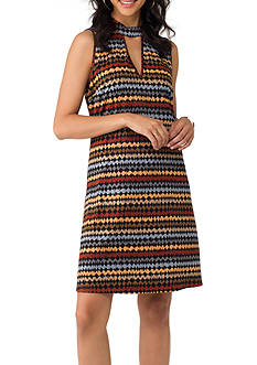 Beige by ECI Keyhole Printed A-line Dress