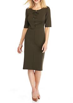 Beige by ECI Lace-Up Front Sheath Dress