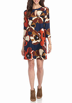 Beige by ECI Floral Printed Trapeze Dress