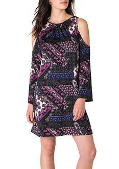 Beige by ECI Cold Shoulder Long Sleeved Dress