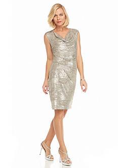 SCARLETT Shimmer Cowl Neckline Sheath Dress
