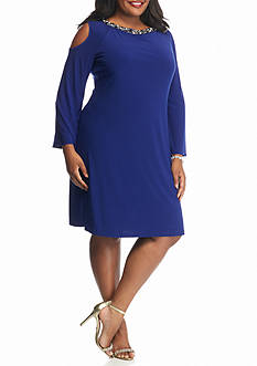 SCARLETT Plus Size Bead Embellished Cold Shoulder Shift Dress