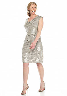 SCARLETT Plus Size Shimmer Cowl-Neck Sheath Dress