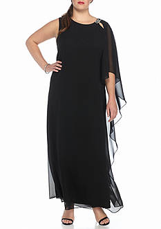 SCARLETT Plus Size Chiffon Gown with Pin
