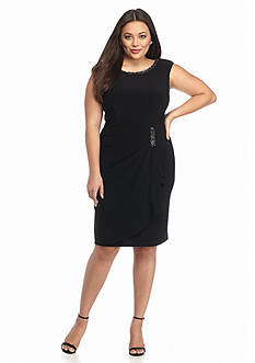 SCARLETT Plus Size Bead Embellished Faux Wrap Dress