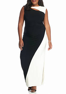 SCARLETT Plus Size Colorblock Jersey Gown