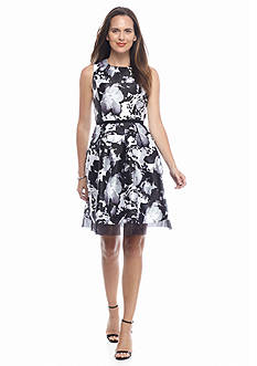 Donna Ricco New York Floral Printed Fit and Flare Dress
