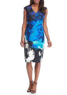 Donna Ricco New York Printed Scuba Sheath Dress