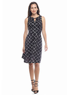 Donna Ricco New York Cross-Print A-line Dress