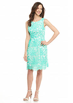 Donna Ricco New York Embroidered Organza Sheath Dress