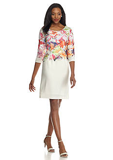 Donna Ricco New York Floral Lace Overlay Sheath Dress