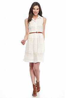 Donna Ricco New York Eyelet Belted Shirt Dress