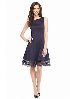 Donna Ricco New York Fit and Flare Dress with Lace Hem
