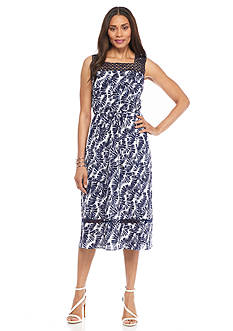 Donna Ricco New York Printed A-line Dress with Lace Trim