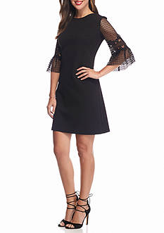 Donna Ricco New York Lace Bell Sleeve Shift Dress