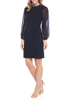 Donna Ricco New York Bead Embellished Neckline Sheath Dress