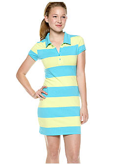 Derek Heart Short Sleeve Stripe Polo Dress