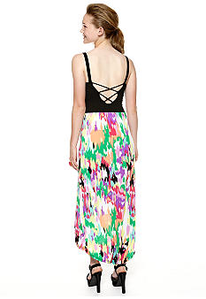 Derek Heart Sleeveless Open Back Printed High Low Dress