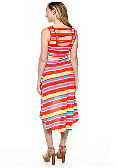 Derek Heart Sleeveless Knit Stripe Bar Back High Low Maxi Dress