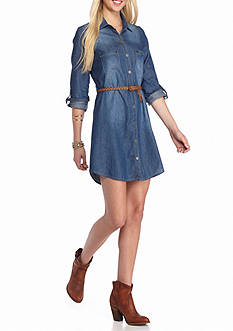 Golden Touch Denim Belted Dress