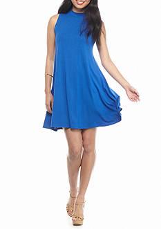 Golden Touch Mock Neck Solid Dress