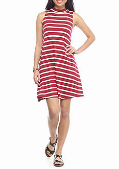 Golden Touch Mock Neck Stripe Dress