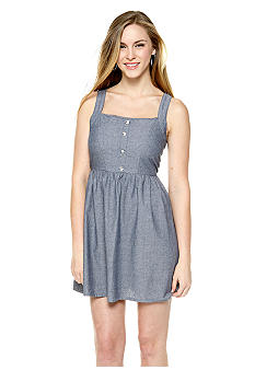 Derek Heart Crochet Back Chambray Dress