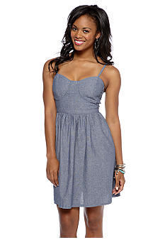 Derek Heart Chambray Bustier Dress