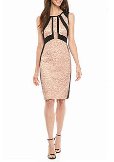 IVANKA TRUMP Lace Panel Sheath Dress