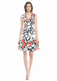 IVANKA TRUMP Printed Linen Fit and Flare Dress